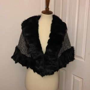 Rabbit fur trim cape 0/S  NWOT